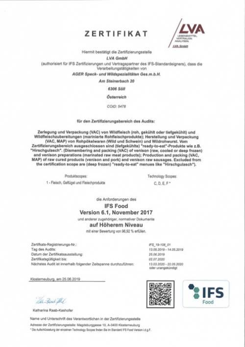 IFS-Zertifikat bis 2.7.2020